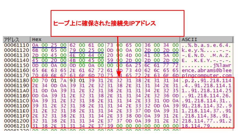 図 8. ヒープメモリ上に確保された接続先 IP アドレス