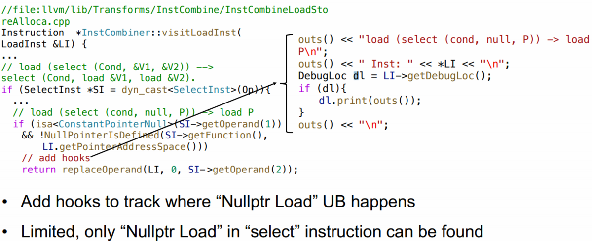 図 1 Null Pointer Dereference UB の発生箇所特定のために加えられたフック