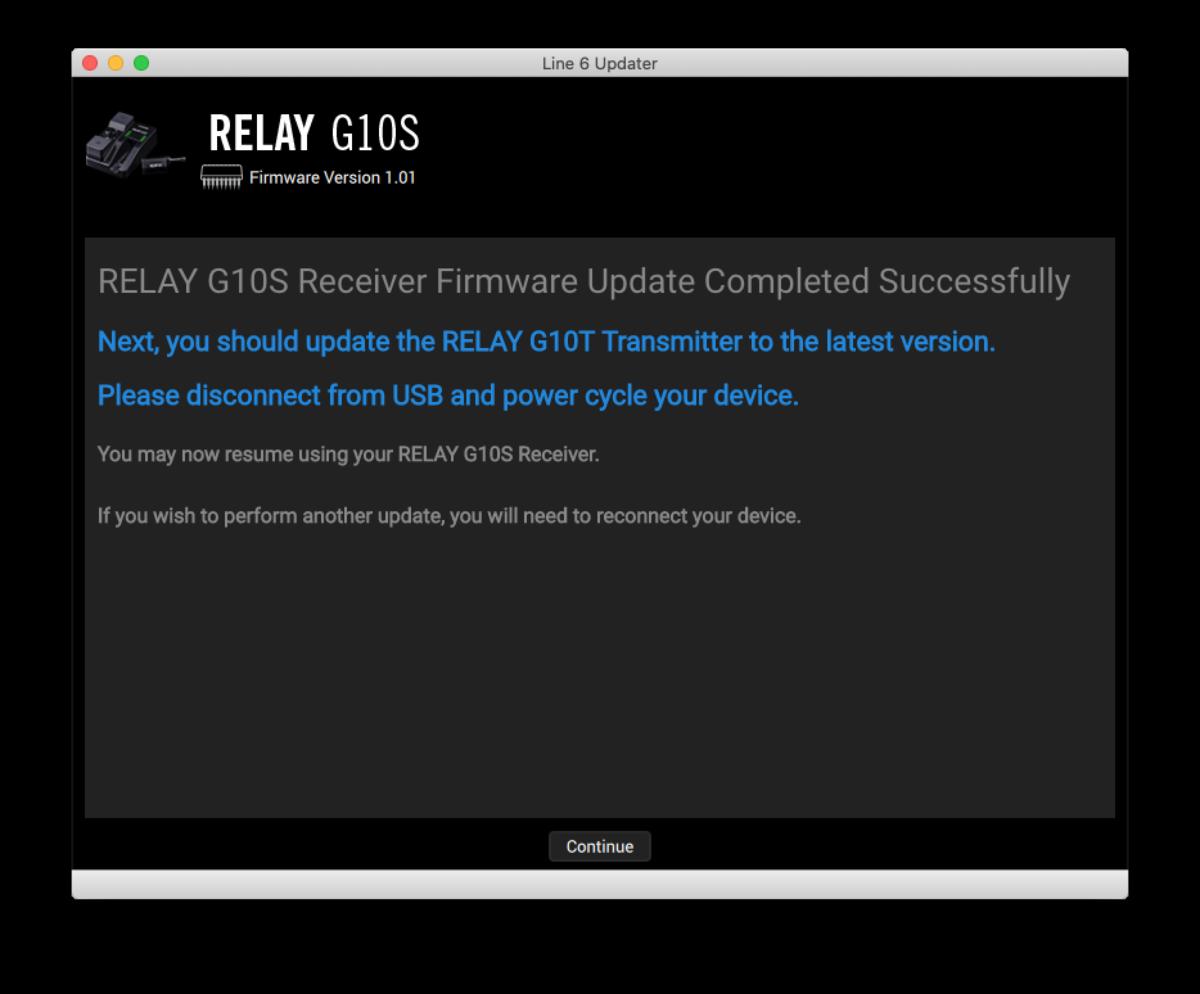 LINE 6 RELAY G10S ファームウェア・アップデート