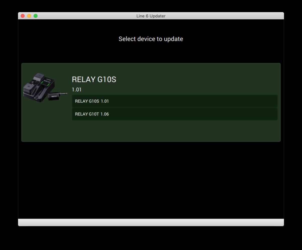 LINE 6 RELAY G10S / G10T ファームウェア・アップデート