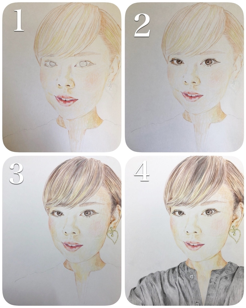 自画像を描いていく流れ