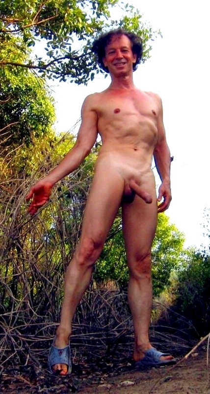 Enjoying to be seen nude on a forestway