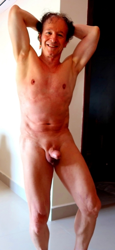 74 year old exhibitionist getting very erect to be seen nude shaved and so excited