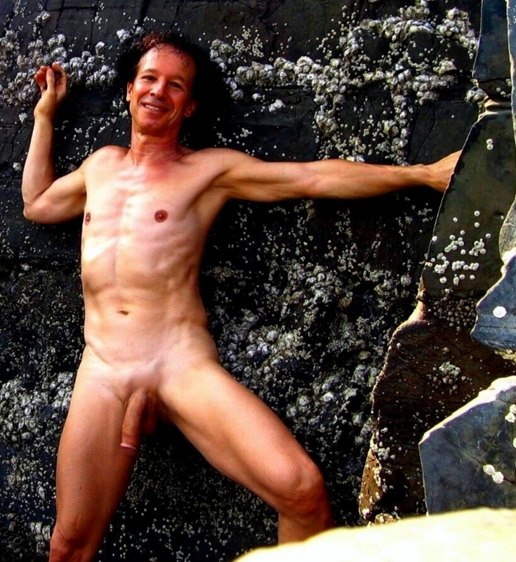 Enjoying nudity  in the rocks