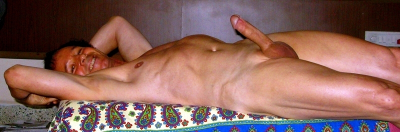 Enjoying to exhibit nude shaved,erect and so excited