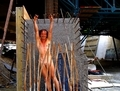 Enjoying the excitement to exhibit myself nude and shaved on acconstruction area