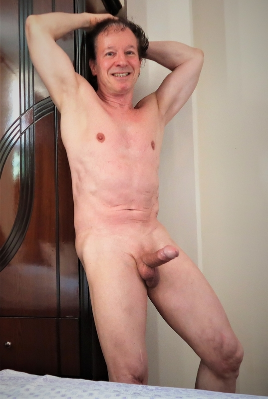 Very excited to be seen so erect shaved and nude exposed