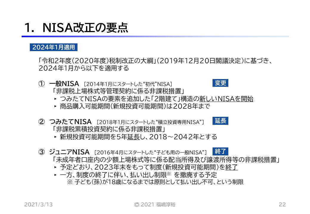 1. NISA改正の要点
