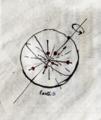 ニュートン銃のリンゴが地球内部で単振動してる図。