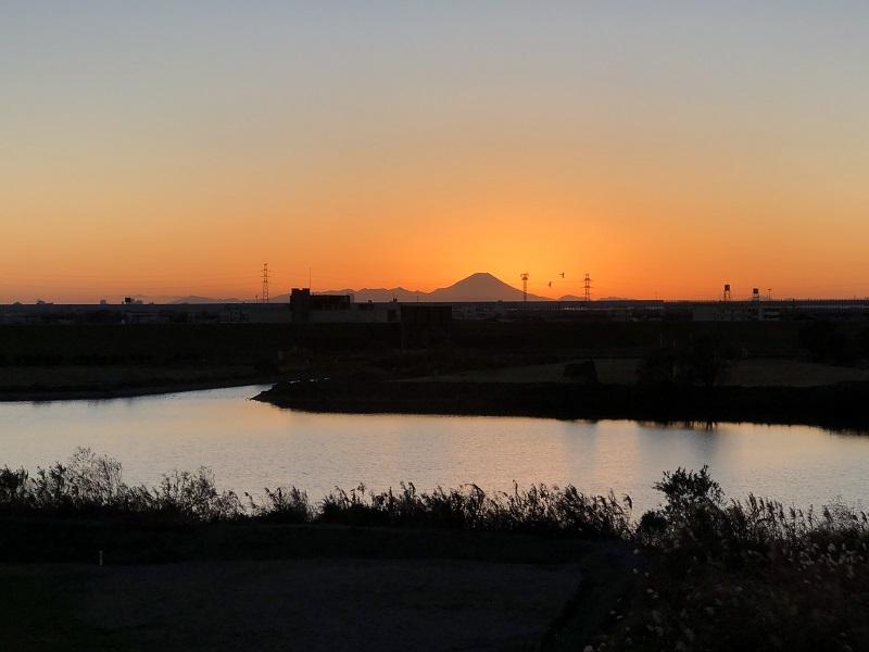 富士山 夕景 江戸川 サイクリング