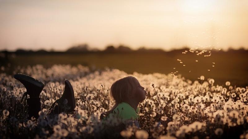 草むらに少女