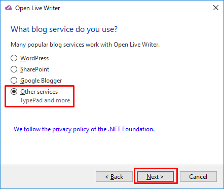OpenLiveWriter インストール