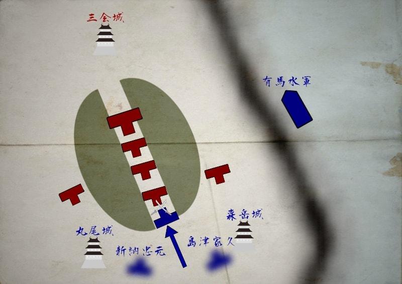 沖田畷で戦闘が始まる