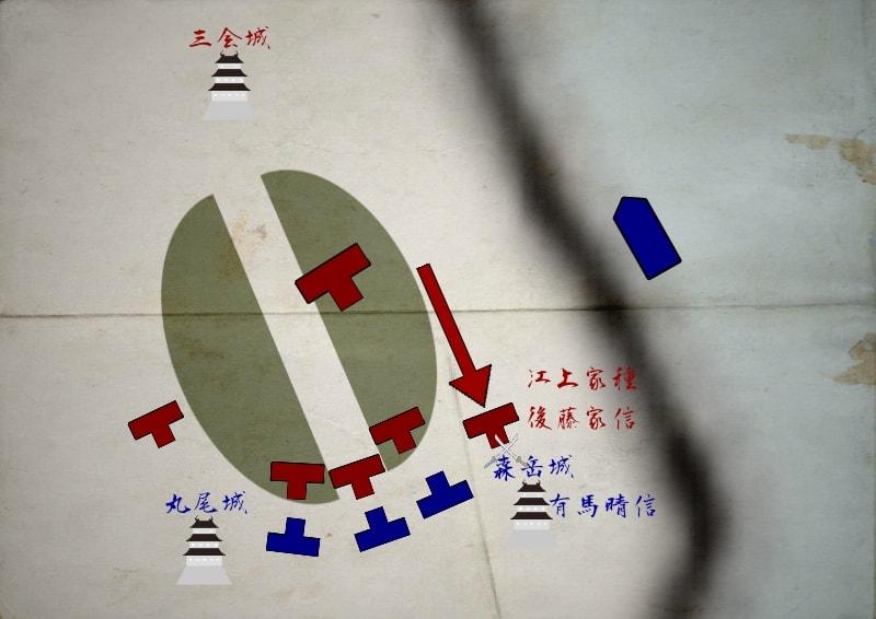 森岳城で戦う江上家種、後藤家信と有馬晴信