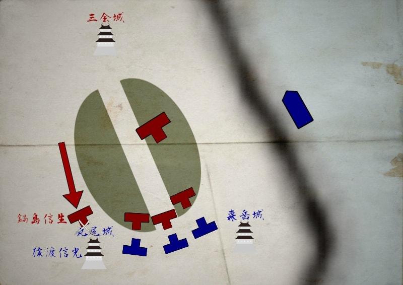 丸尾城で戦う鍋島信生と猿渡信光