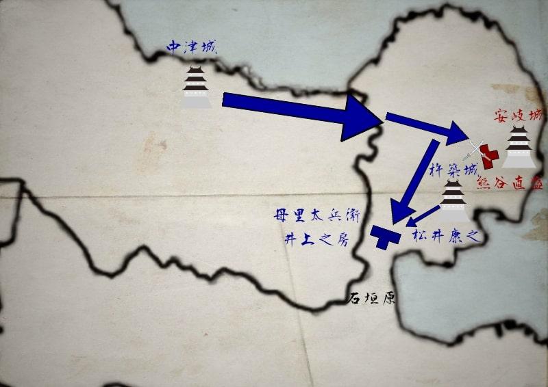 松井康之と合流し熊谷直盛と合流する母里太兵衛と井上之房