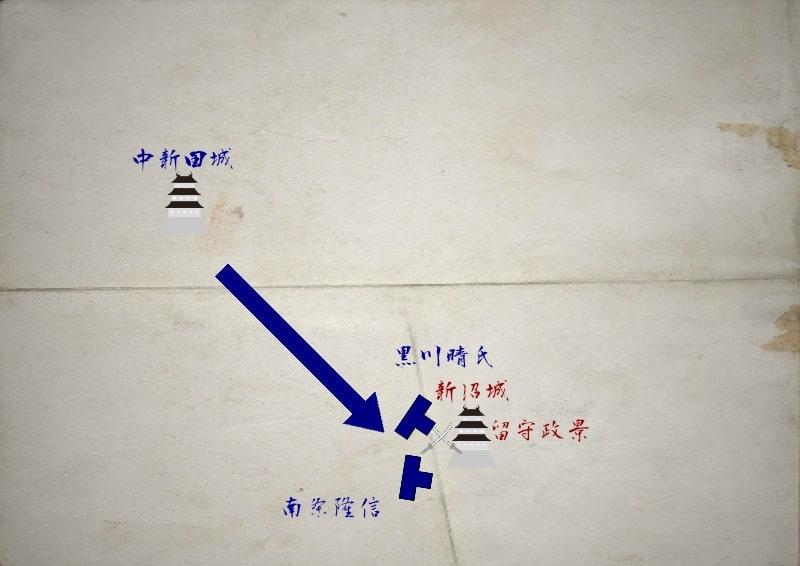 新沼城を包囲する南條隆信と黒川晴氏