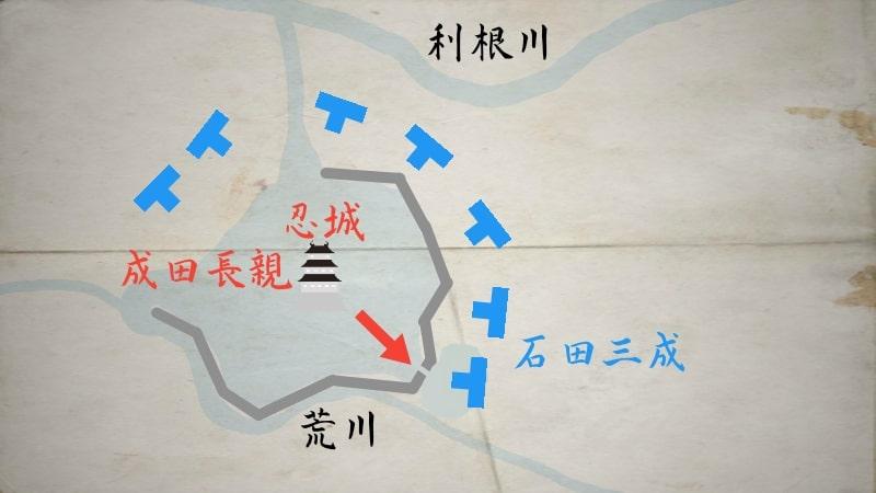 石田堤を決壊させる成田長親の工作兵