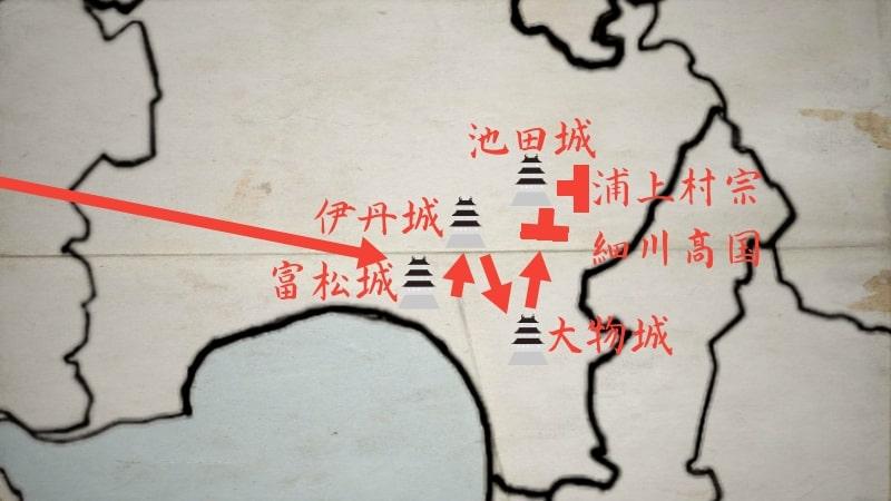 富松城、伊丹城、大物城、池田城を落とす細川高国と浦上村宗