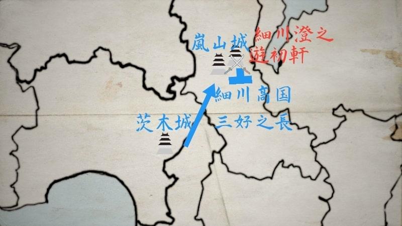 茨木城と嵐山城を攻め落とす細川高国と三好之長