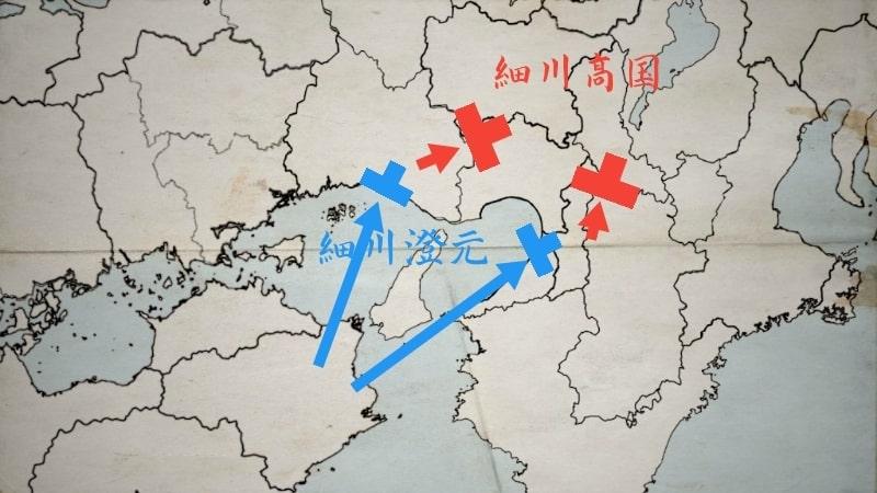 上陸戦に勝利する細川澄元方