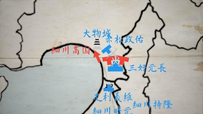 大物崩れで敗北する細川高国と浦上村宗