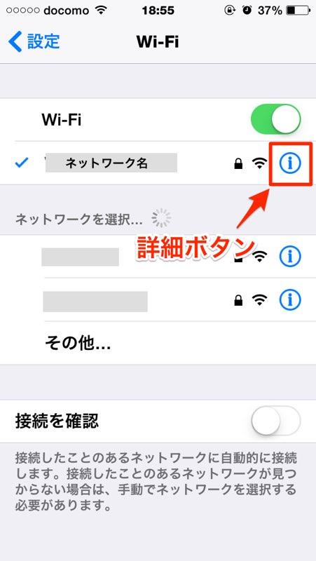iPhone アイフォン アイホン iPad アイパッド DNS 確認 設定 変更
