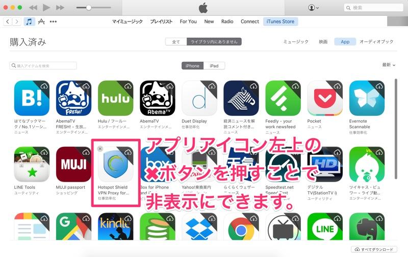 iPhone アイフォン アイホン アイポン iPad アイパッド 購入済み アプリ ミュージック 映画 オーディオブック 非表示 設定 方法