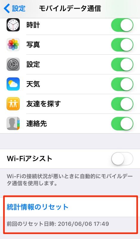 iPhone iPad アイフォン アイホン アイパッド モバイルデータ通信量 チェック 確認 設定