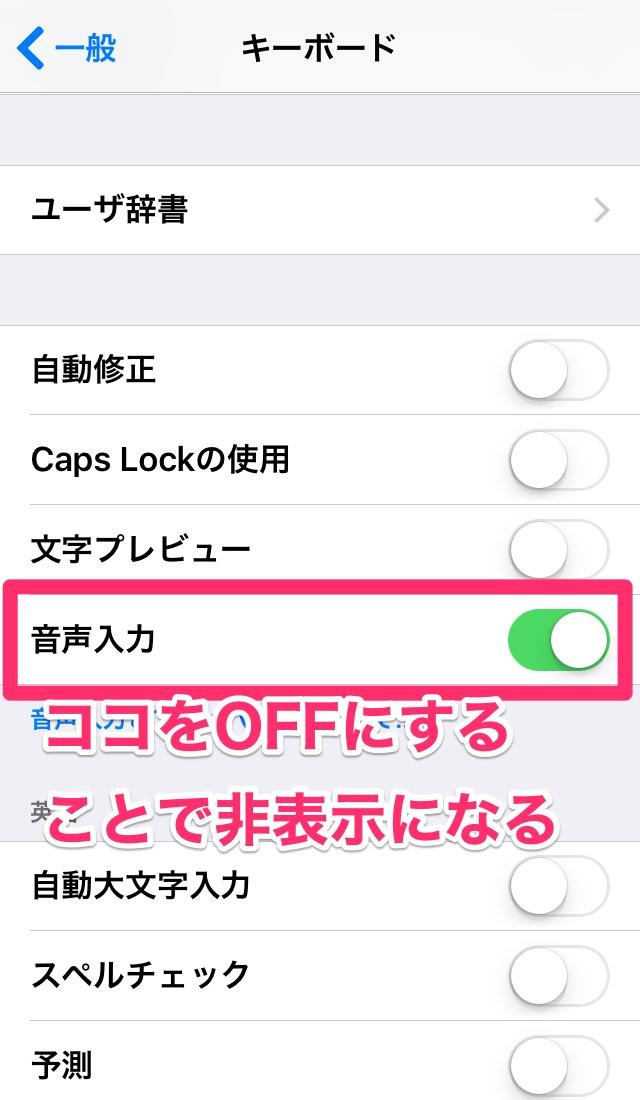 iPhone アイフォン アイホン iPad アイパッド キーボード設定 マイクアイコン マイクボタン 非表示 消す