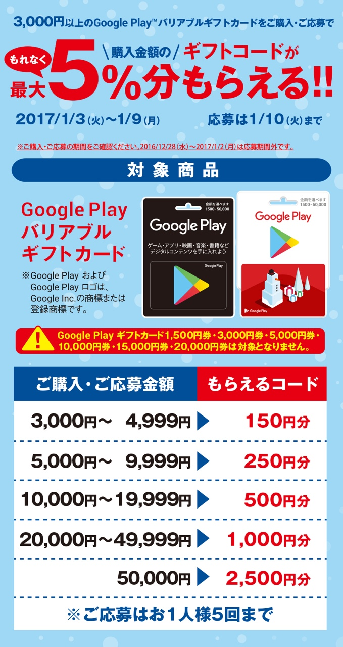 Google Play ギフトカード キャンペーン グーグル Android アンドロイド アプリ ゲーム 映画 音楽 ファミリーマート