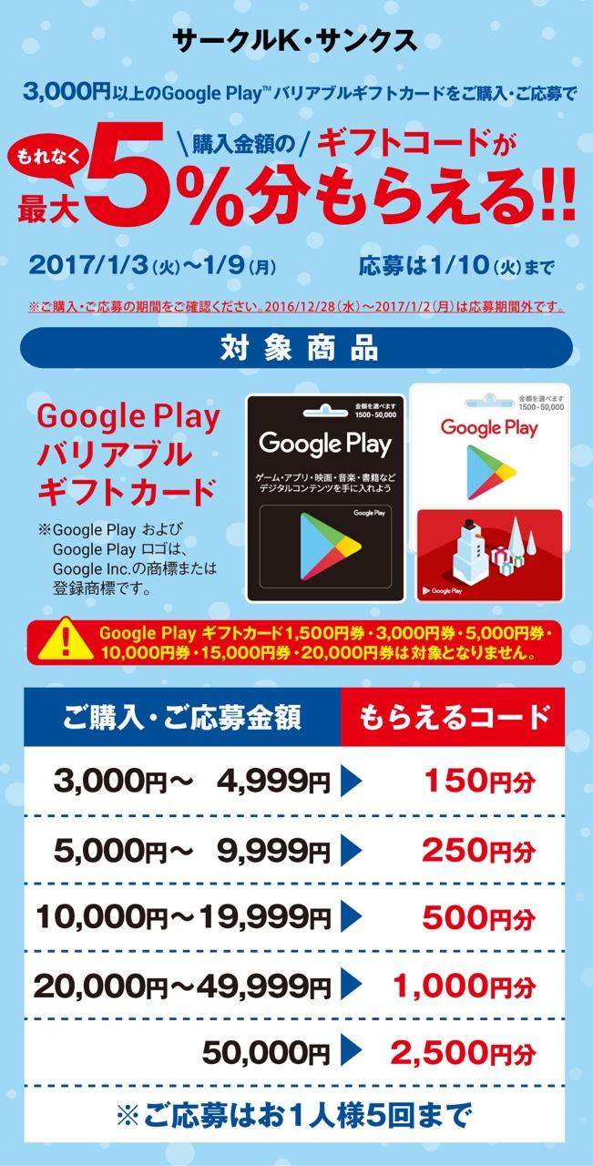 Google Play ギフトカード キャンペーン グーグル Android アンドロイド アプリ ゲーム 映画 音楽 サークルKサンクス