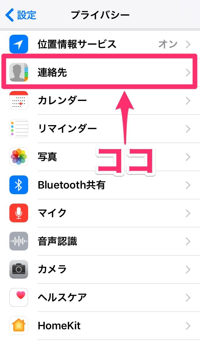 iPhone アイフォン アイホン iPad アイパッド iOS アクセス権限 確認 設定 連絡先