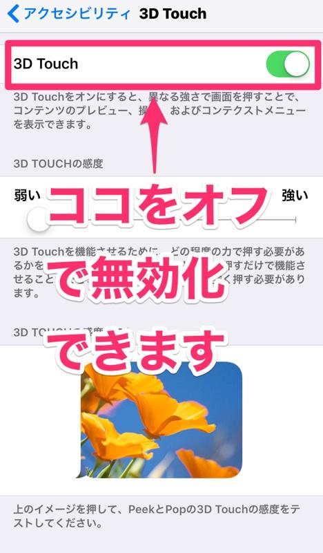 iPhone アイフォン アイホン 3D Touch タッチ iOS 機能 無効化