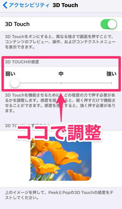 iPhone アイフォン アイホン 3D Touch タッチ iOS 機能 設定 調整