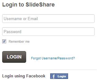 slideshareにfacebookでログイン