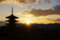 八坂の五重塔と夕陽