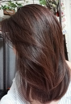 ヘアアイロンで整えた髪