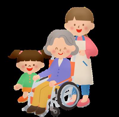 車椅子に座るおばぁちゃんたち