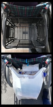 車椅子とレシカゴ、荷物
