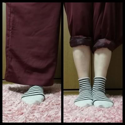 ワイドパンツの裾