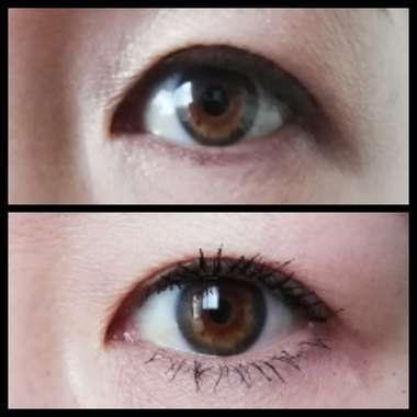ファシオマスカラ塗布した正面の目