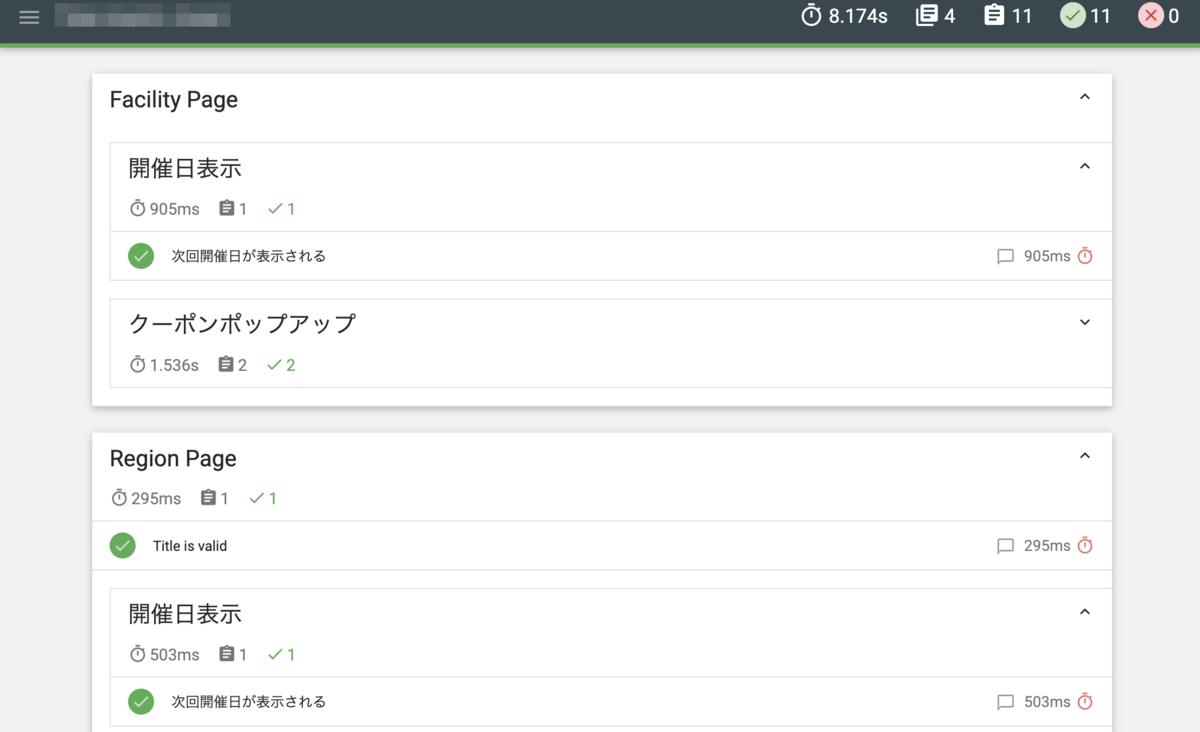 HTML形式のテスト結果