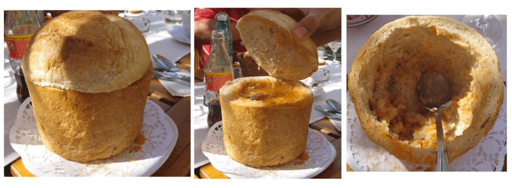パンをくりぬいたスープ