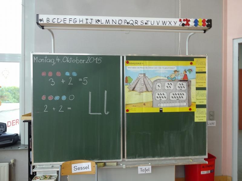<オーストリアの小学校一年生の教室の黒板。アルファベットは五感を使って学ぶBuchstabentag(アルファベットデー)が、週一回行われます>