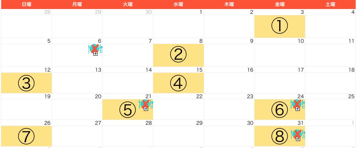 5月ジムカレンダー