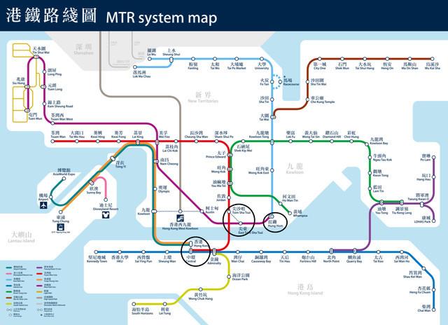香港の地下鉄路線図