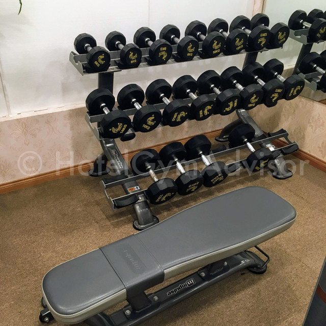 Dumbbells and bench at Light Hotel Hanoi