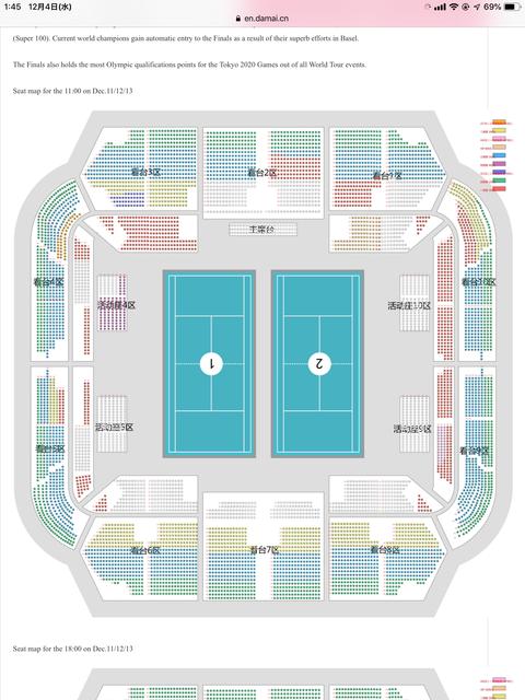 バドミントンワールドツアーファイナルズ2019の初日から3日目まで(2コート制)の等級別色分け座席表