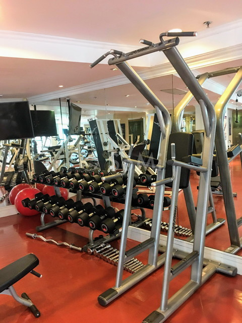 Dumbbells and chin-up rack at Renaissance Riverside Hotel Saigon